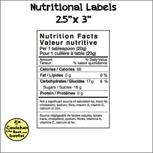 honey nutritional labels